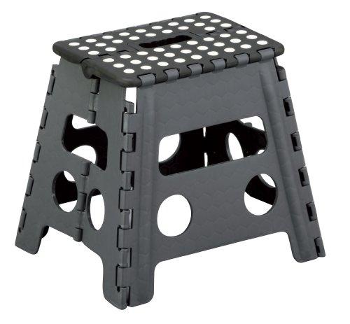 Zeller 99161 - Taburete plegable, 37 x 30 x 32 cm, color negro y gris