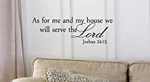 As for Me and My House We Will Serve the Lord Joshua 24:15 Bible Verse Quote Vinyl Decal Matte Black Decor Decal Skin Sticker Laptop by Southern Sticker Company