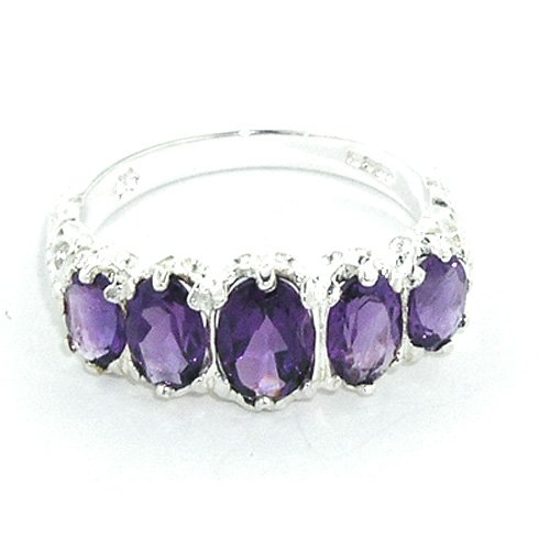 Sterling Silver Ladies 5 Stone Amethyst Ring