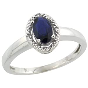 14k White Gold ( 6x4 mm ) Halo Engagement Created Blue Sapphire Ring w/ 0.007 Carat Brilliant Cut Diamonds & 0.55 Carat Oval Cut Stone, 3/8 in. (9mm) wide, size 5