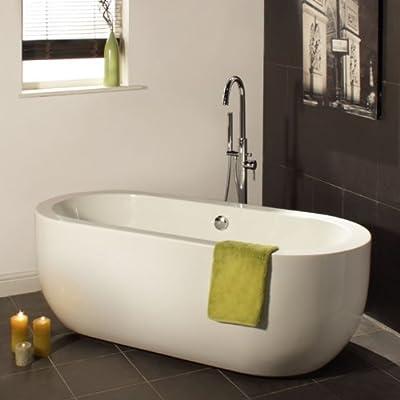 Freistehende Badewanne aus Bahnen von doppelwandigem Acryl mit je 4-6 mm Dicke; Verstärkung durch eine Beschichtung aus Kunstharz, Dicke 6-8 mm. Löcher für Ausguss und Überlauf sind vorhanden, die Garnituren sind jedoch nicht im Lieferumfang enthalte...