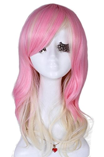 Medium Long Pink blend Beige Sexy Curly Wavy Fashion Wig CW144D