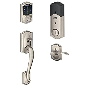 Schlage Connect Camelot Touchscreen Deadbolt with Built-In Alarm and Handleset Grip with Accent Lever, Satin Nickel, FE469NX ACC 619 CAM LH