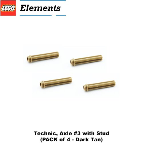 Lego Parts: Technic, Axle #3 With Stud (Pack Of 4 - Dark Tan)