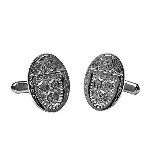 Boru Irish Made Sterling Silver Personalized Family Coat of Arms Cufflinks Picture