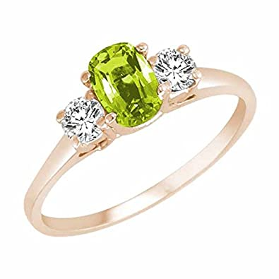 Ryan Jonathan Cushion Peridot and Diamond Ring in 14K White Gold