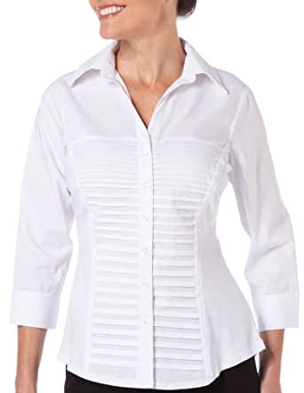 Zac & Rachel Petite Ultimate Fit Button Front Top WHITE X Large Petite