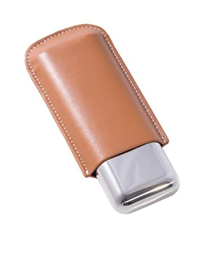 Bey-Berk Tan Leather & Stainless Steel Cigar Holder