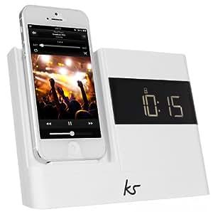 KitSound XDOCK 2 Radio Réveil avec Station d'Accueil et Connecteur Lightning pour iPhone 5/5S/5C/6 (12cm)/iPod Nano 7/iPod Touch 5 - Livré avec Prise UK - Blanc