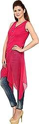 Rvestir Women's Poly Georgette Tunic Top (OM090_S, Pink)