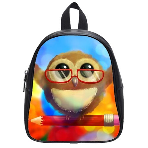Generic Custom Cute Wearing Red Glasses Stand On The Pencil Printed Black School Bag Backpack Fit Short Trip Pu Leather Small front-1068259