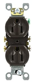 15 Amp, 125 Volt, Duplex Receptacle, Residential Grade, Self-Grounding, Brown, 5320-S