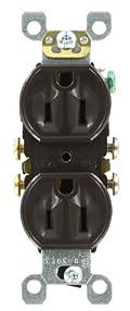 15 Amp, 125 Volt, Duplex Receptacle, Residential Grade, Self-Grounding, Brown, 5320-S