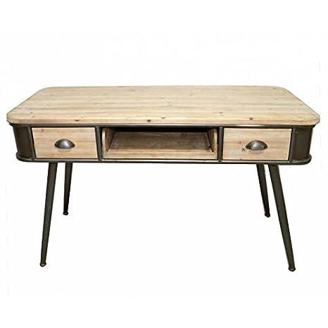 Ufficio Cargo marca hanjel Console Segretario stile industriale in legno e ferro anticato grigia-nera 2cassetti 57x 76x 120,5cm