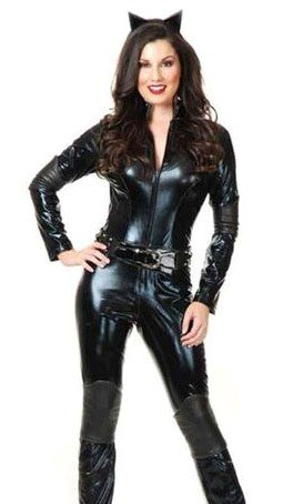 Women's XL 14-16 Sexy Wet Look PVC Black Catsuit Too Fetish Dominatrix Costume