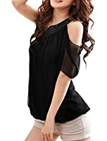 Allegra K Women Asymmetric Neckline One Shoulder Blouse Summer Chiffon Top