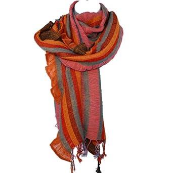 Funky Bright Striped Pashmina Scarf Shawl Wrap (Orange/Brown)