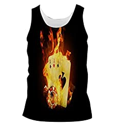 Snoogg Triple Ace Fire Mens Casual Beach Fitness Vests Tank Tops Sleeveless T shirts