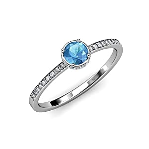 Blue Topaz and Diamond (VS2-SI1, F-G) Halo Engagement Ring 0.95 ct tw in 18K White Gold.size 6.0