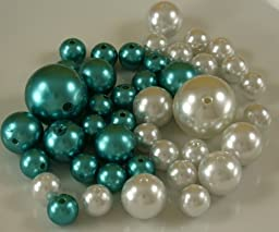 Wholesale Elegant Vase Fillers - Approx 42 Assorted Oversized Pearls Beads - Unique Decorative Gems (WHITE &TURQUOISE) by Holiday Accents
