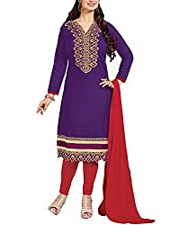 Tanmay Fashions Women's Cotton Unstitched Dress Material(Purple_Free Size)
