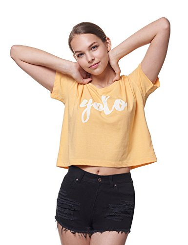 REGNA X ADOONGA Women's Round Scoop Neck Short Sleeve YOLO Graphic Yellow Extra Large T-shirt Crop Top
