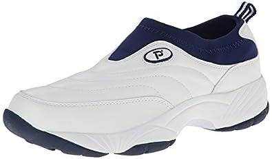 Propet Men's M3851 Wash & Wear Slip-on,White/Navy,7 M (US Men's 7 D)