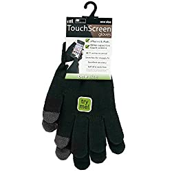 Men's Black Knitted Touch Screen Gloves - For Touch Screen Phones & Ipods