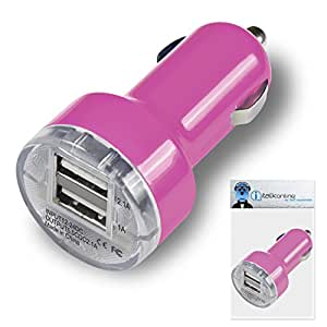 Medion LifeTab E7316 7 inch Tablet Pink Dual 2.1 / 1 Amp Compact Fast Charge Car Charger Adapter
