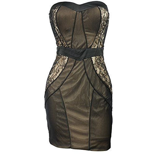 Bebe Dress Mini Lace Dress Strapless Mesh black 207847