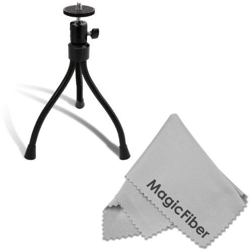 "7"" Desktop Tripod With Ball Head And Flexible Legs For Digital Cameras + Premium Magicfiber Microfiber Cleaning Cloth"