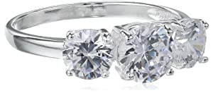 Sterling Silver Three-Stone Simulated Diamond Ring (3.83 cttw) from Amazon Curated Collection