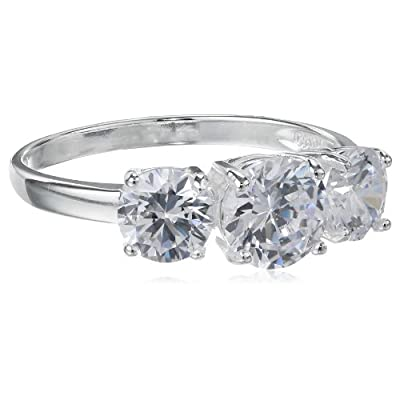 Sterling Silver Three-Stone Simulated Diamond Ring (3.83 cttw): Jewelry