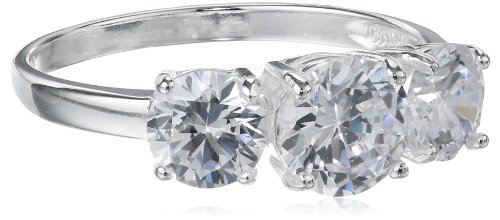 Sterling Silver Three-Stone Simulated Diamond