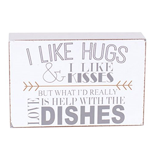 Small I Like Hugs and Kisses Love Help with Dishes 4 x 6 Wood Block Table Sign (Modern Kitchen Decor compare prices)