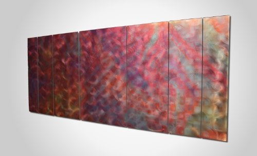 Violet Purple Art 'Violet Rhapsody' - 62x24 in. - Huge Colorful Metal Painting, Unique Purple & Pink Color Accents. Large 7-Panel Sculpture Design, Great Wall Accent for Contemporary Earth Tone Decor.