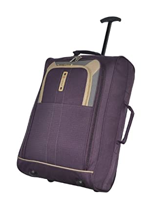 Frenzy® / Cities® Lightweight Hand Luggage Travel Holdall Baggage Wheely Suitcase Cabin Approved Bag Ryanair Easyjet And Many More - 1.6k - 40 Litres - PADLOCK INCLUDED (Plum 612)