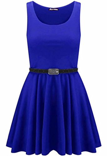 New Womens Plus Size Belted Sleeveless Skater Going Out Dress (12/14