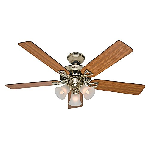 hunter-53116-the-sontera-52-inch-hunter-bright-brass-finish-ceiling-fan-with-five-medium-oak-walnut-
