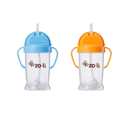 Imagen de Zoli bebé Bot XL Straw Sippy Cup 9 oz - 2 Pack, Blue / Orange