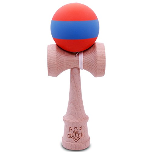 Kendama Rubberized Orange & Blue Matte And Extra String - 1
