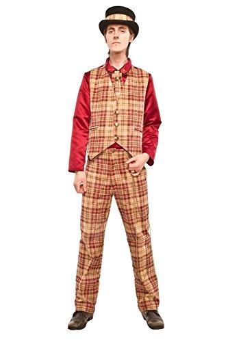 Mens-Steampunk-Collarless-Vest-in-Cream-Wine-Red-Tartan-Plaid-Sizes-S-2XL