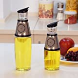 LittleSomething Non Drip Press & Measure Stainless Steel Glass Oil Vinegar Bottle 500ml Weight Watcher