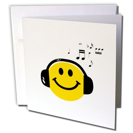 Gc_112819_1 Inspirationzstore Smiley Face Collection - Music Loving Yellow Smiley Face With Black Headphones And Musical Notes - Happy Dj - Deejay - Greeting Cards-6 Greeting Cards With Envelopes