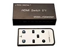 J-Tech Digital 5 Port HDMI 5x1 Powered Switch Ver 1.3 Certified for Full HD 1080P Deep 36 Bit Color & HD Audio Max Output Bandwidth of 10.2Gbps (The Latest & The Best)