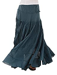 Skirts & Scarves Womens Casual 100% Cotton Long Maxi Skirt (Green)
