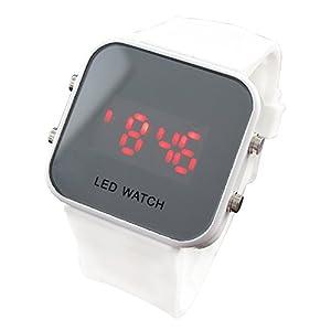 Unisex Mirror Dial LED Digital Sport Watch (White)
