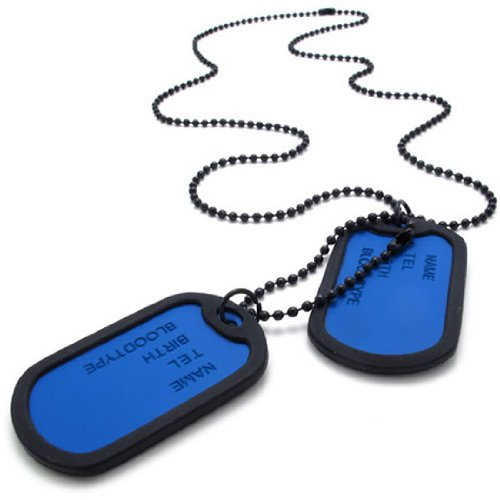 KONOV Jewelry Army Style 2pcs Dog Tag Pendant Mens Necklace Chain, Blue