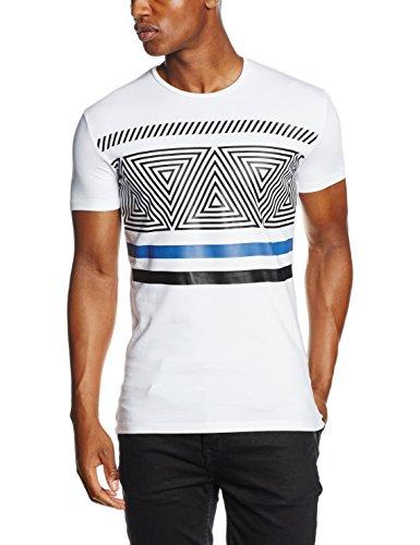 Antony Morato T Shirt Girocollo Stampa Geometrica, Maglietta da Uomo, Bianco, M