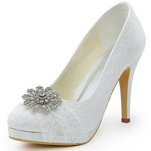Elegantpark HC1413P Women's Closed Toe Rhinestones Platform Stiletto Heel Lace Pumps Wedding Bridal Shoes White US 8
